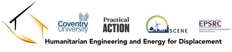 Logos for Humanitarian Engineering and Energy for Displacement, Coventry University, Practical Action, Scene Connect and Engineering and Physical Sciences Research Council