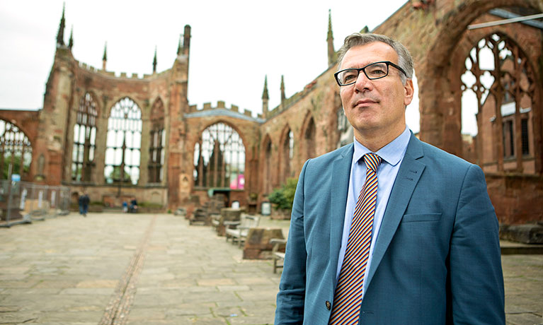 professor Alp Ozerdem in Coventry Cathedral