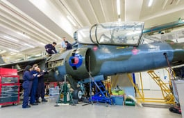 Students working on the harrier jet