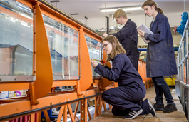 Students in the hydraulics lab
