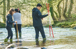 Geography students conducting measurements in a river