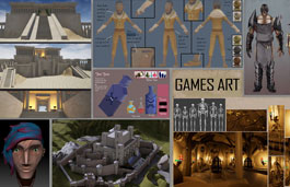 Collage of student-created gaming characters and environments