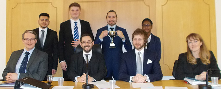 Coventry Law School student winners and judging panel 2017