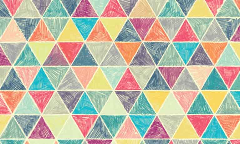drawing of colouful triangles