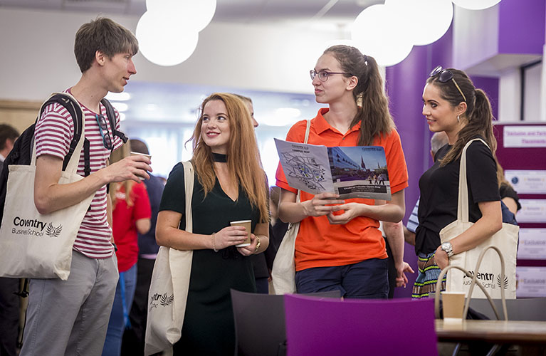 Discussion with potential students at Open day