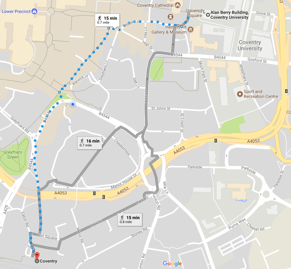 a map of coventry with directions from coventry train station to university square