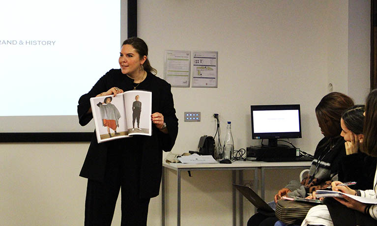 Commercial Director of Pringle of Scotland, Deniz Oral, visits fashion students at Coventry University London