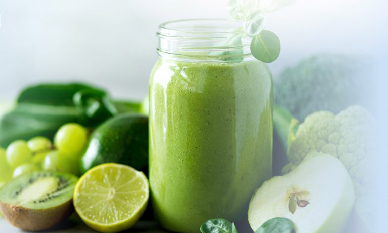Green fruit and smoothie