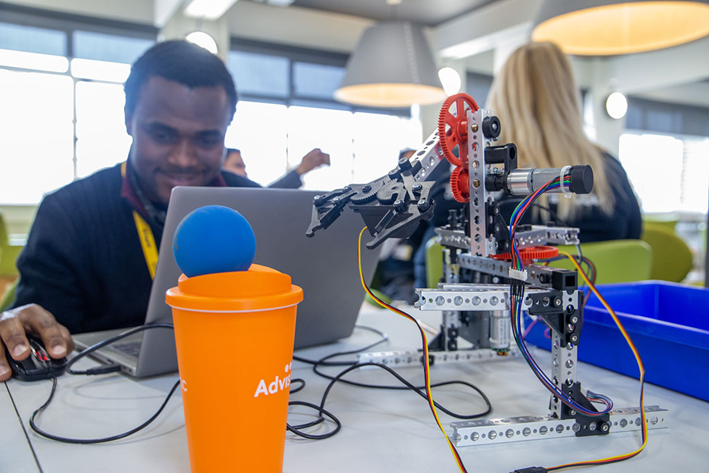 Engineering students at their pop-up stand