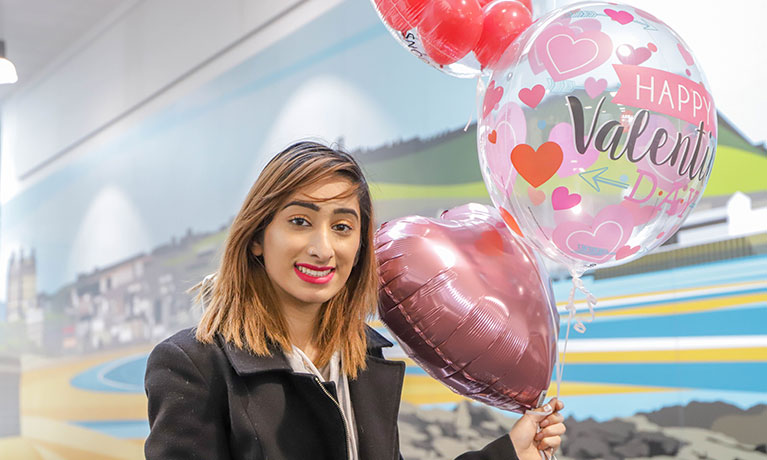 Sabah with some of her balloons