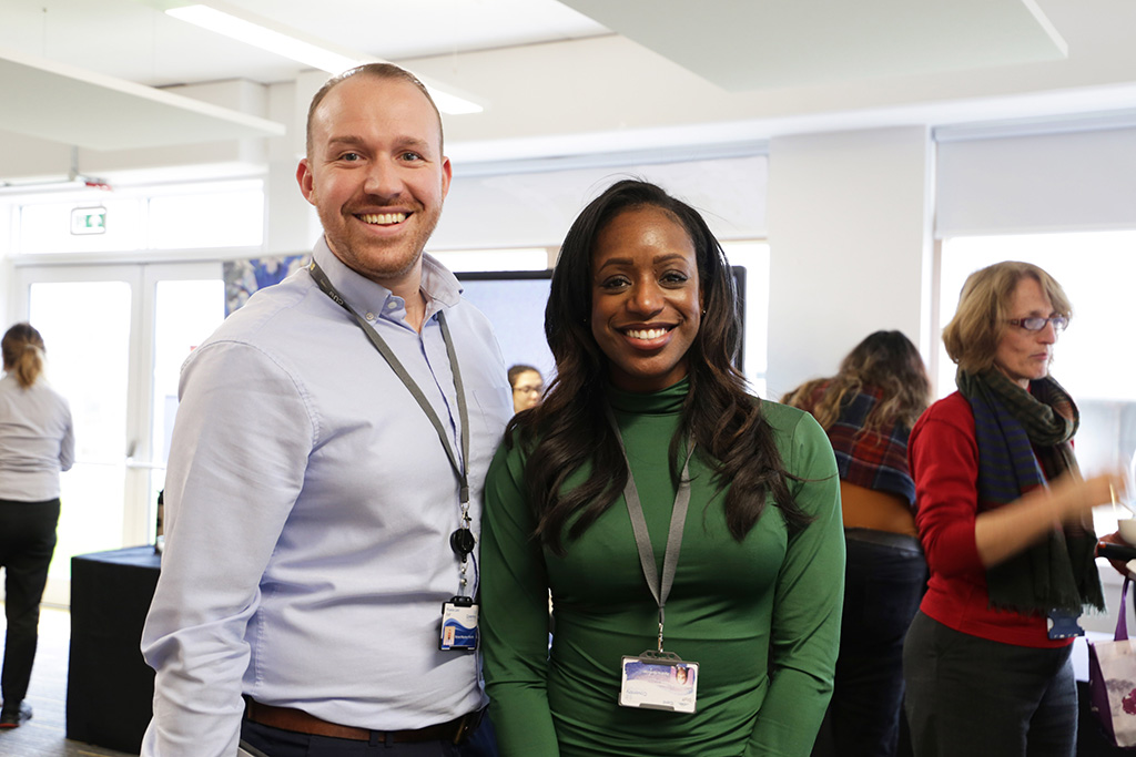 Customer Service and Experience Operations Manager Richard Maybery-Woolfe with Employability and Placements Manager Aysha Abdullah