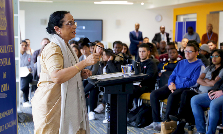 Gandhi expert visits CU Coventry to deliver talk to students