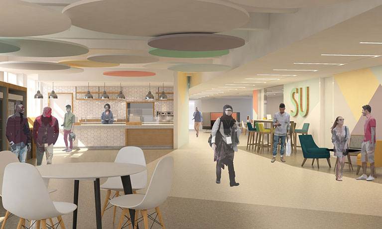Artist's impression of new cafe at Mile Lane campus