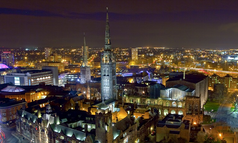 The Coventry skyline at night