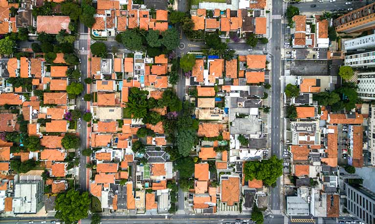 Brazilian houses from a birds eye view perspective