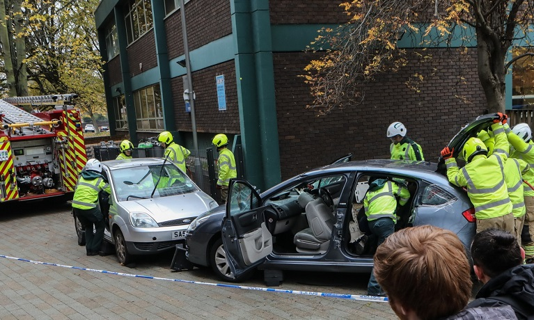 West Midlands Fire Service staged dramatic multi-vehicle crash scene at university