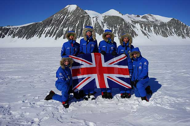 The Ice Maidens team after completing their record-breaking expedition