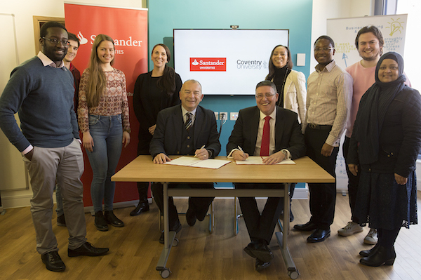 Students and staff to benefit as Coventry University joins Santander Universities network