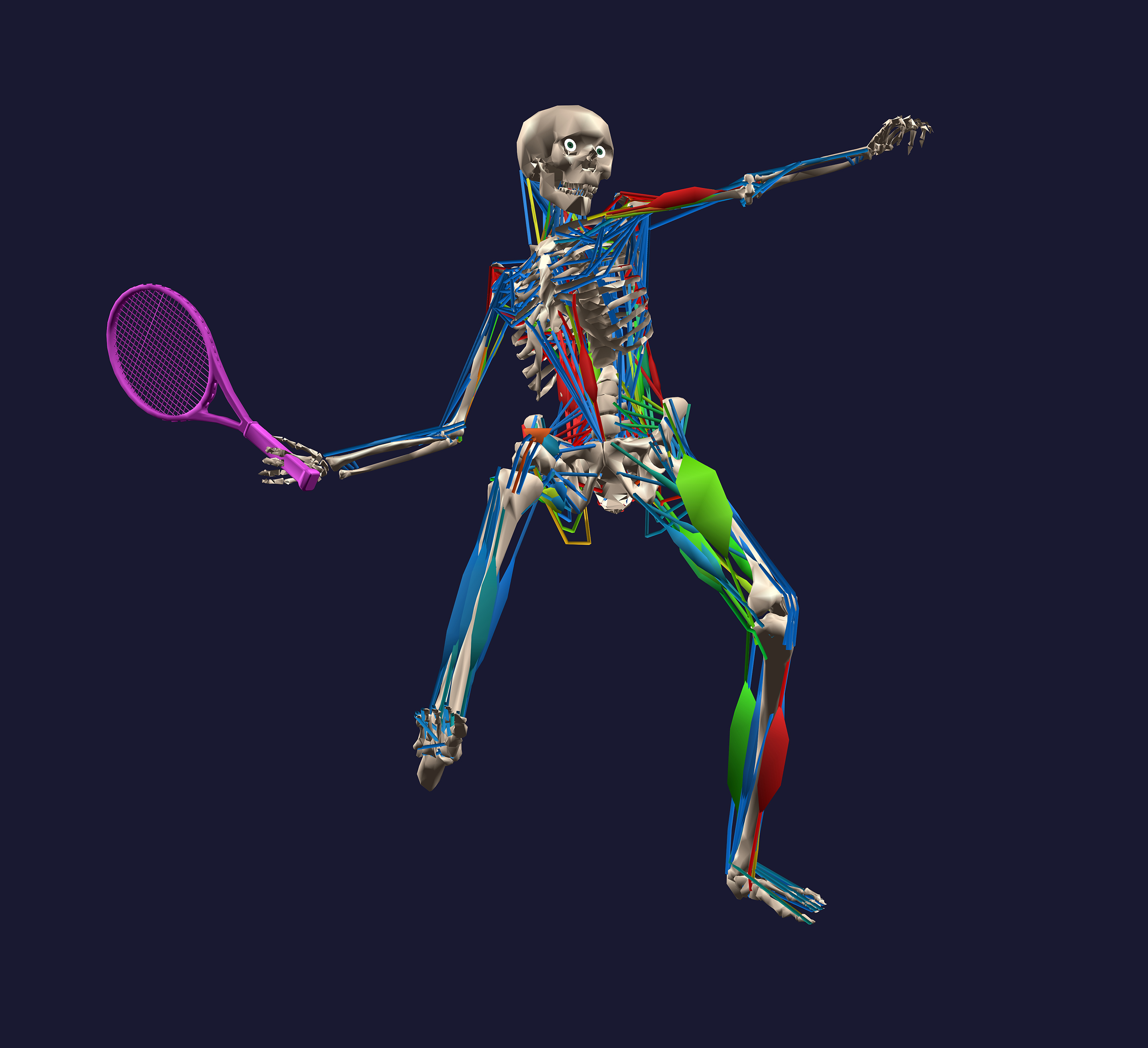 A still from the motion capture footage of a tennis player hitting a shot and the effect it has on their body.