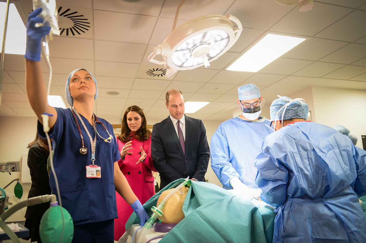 The Duke and Duchess of Cambridge visit the mock operating theatre.