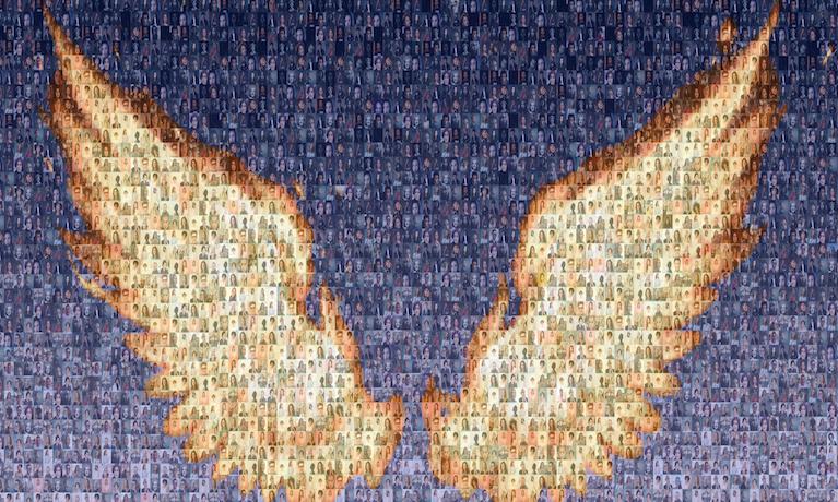 Phoenix wings mural mock-up